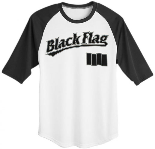 Black Flag- Baseball Logo on a white shirt with black 3/4 length sleeves