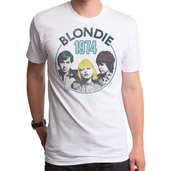 Blondie- 1974 on a white ringspun cotton shirt by Goodie Two Sleeves