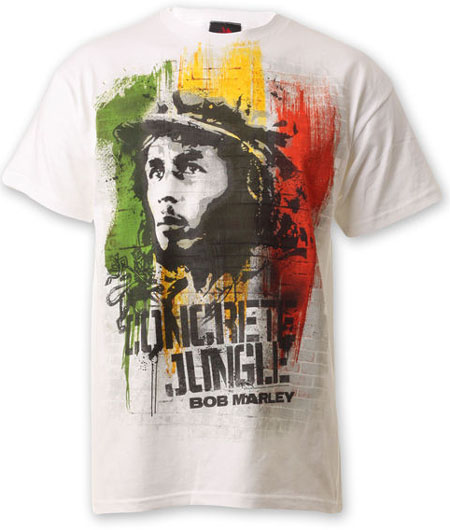 Bob Marley- Concrete Jungle on a white shirt (Sale price!)