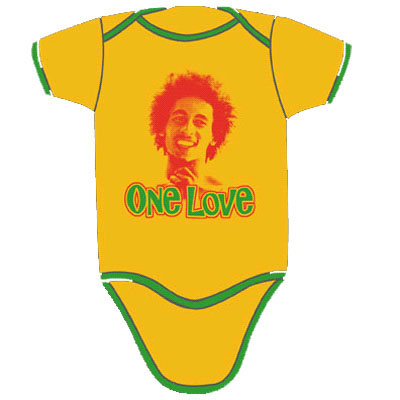 Bob Marley- One Love on a yellow/green onesie (Sale price!)