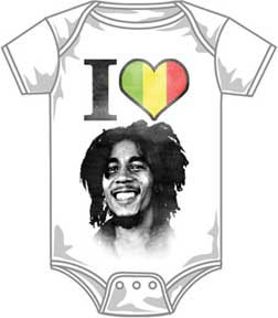 Bob Marley- I Love Bob on a white onesie (Sale price!)