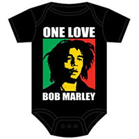 Bob Marley- One Love (White Logo & Green/Red Pic) on a black onesie