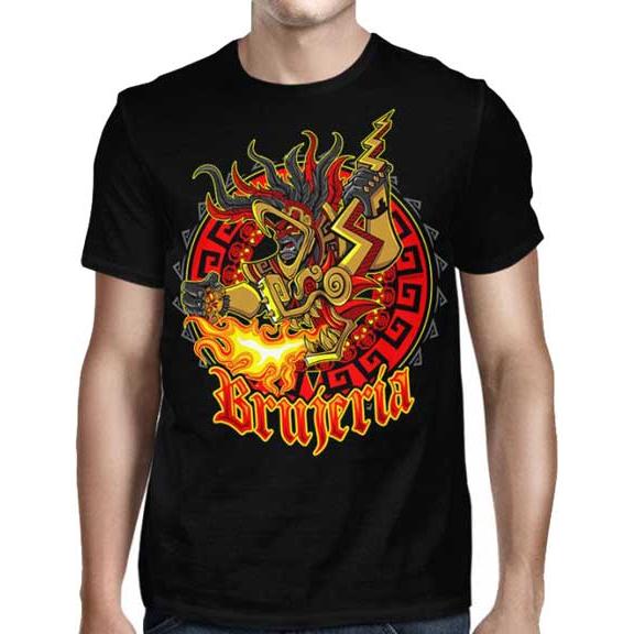 Brujeria- Aztec on front, Logo on back on a black shirt