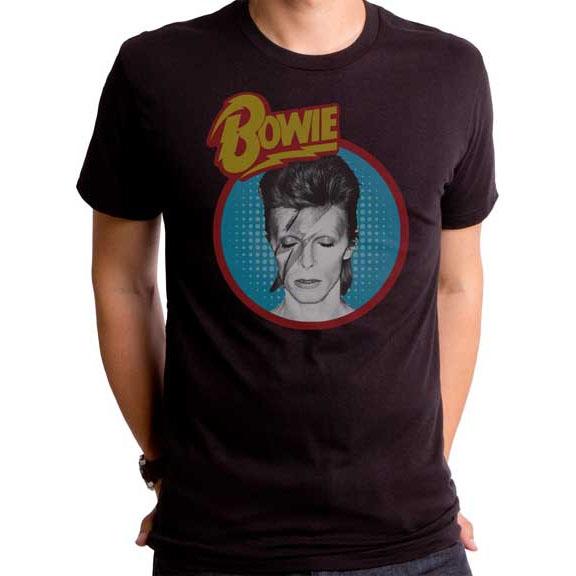 David Bowie- Aladdin Sane (Blue Circle) on a black ringspun cotton shirt by Goodie Two Sleeves