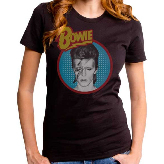 David Bowie- Aladdin Sane (Blue Circle) on a black girls fitted shirt by Goodie Two Sleeves