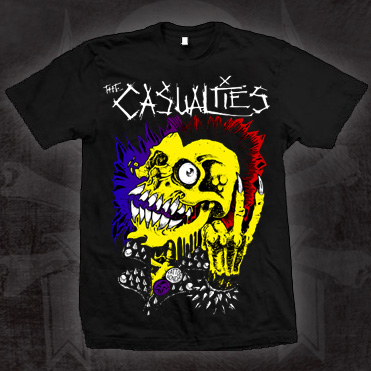 Casualties- Yellow Skull on a black shirt (Sale price!)