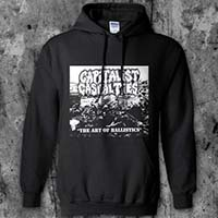 Capitalist Casualties- The Art Of Ballistics on a black hooded sweatshirt