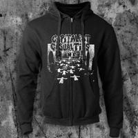 Capitalist Casualties- Church on a black hooded sweatshirt