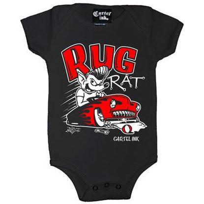 Rug Rat on a black onesie by Cartel Ink