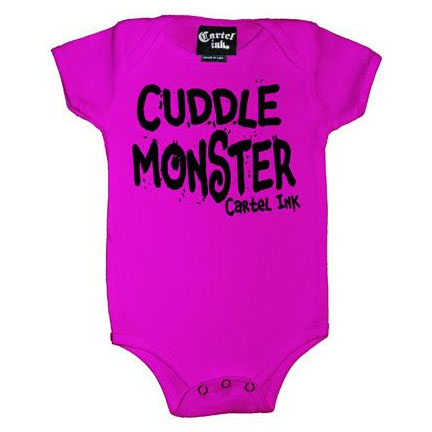 Cuddle Monster on a pink onesie by Cartel Ink - SALE