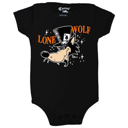 Lone Wolf on a black onesie by Cartel Ink