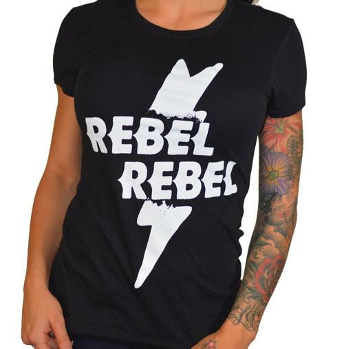 Rebel Rebel Women's Tee by Cartel Ink - black
