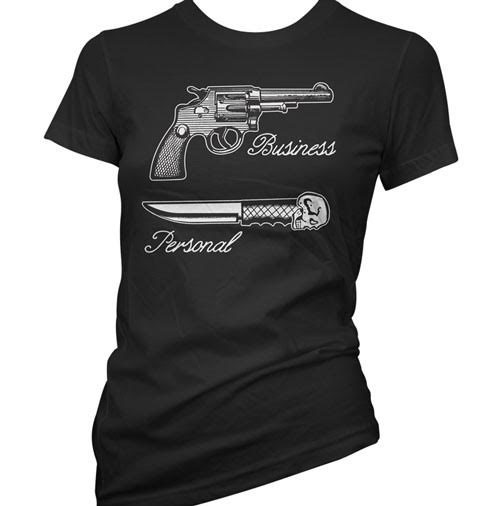 Business / Personal Women's Weapons Tee by Cartel Ink - black