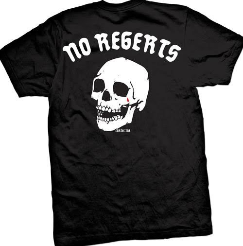 No Regerts on front & back on a black shirt by Cartel Ink