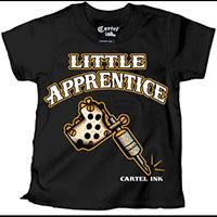 Little Apprentice on a black kids shirt by Cartel Ink (Sale price!)