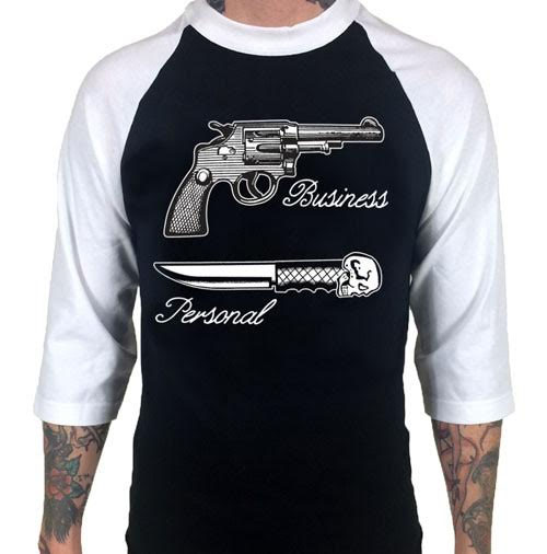 Business / Personal on a Black/White 3/4 Sleeve Shirt by Cartel Ink