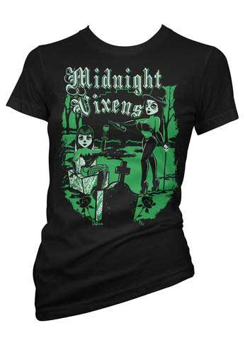 Midnight Vixens on a black  girls fitted shirt by Pinky Star - Sale sz M only