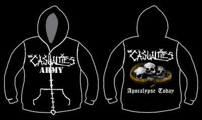 Casualties- Army on front, Logo on sleeve, Apocalypse Today on back on a black hooded sweatshirt