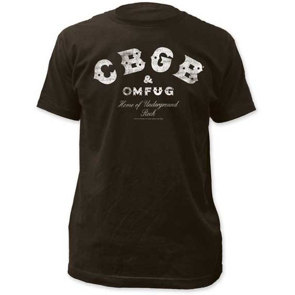 CBGBs- Distressed Logo on a charcoal ringspun cotton shirt