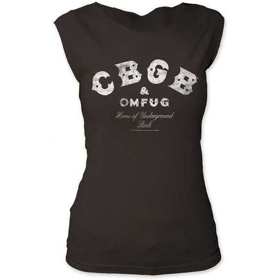 CBGB- Logo on a vintage black girls fitted cap sleeve shirt