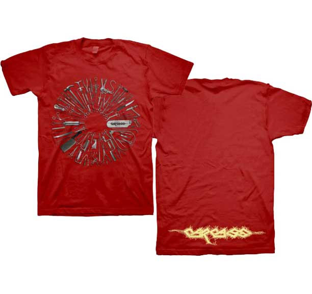 Carcass- Tools on front, Logo on back on a red shirt