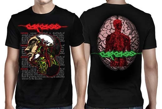 Carcass- Head on front, Brain on back on a black shirt