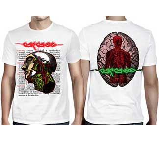 Carcass- Head on front, Brain on back on a white shirt