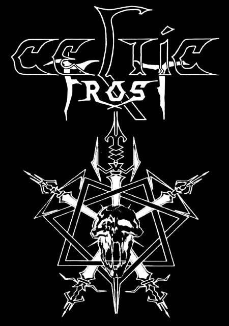 Celtic Frost- Logo With Swords on a black hooded sweatshirt