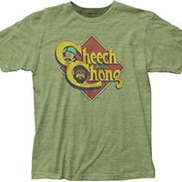 Cheech And Chong- Logo on a heather green ringspun cotton shirt