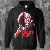 Childs Play- Chucky on a black hooded sweatshirt