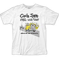 Circle Jerks- 1982 Wild In The Streets USA Tour on a white ringspun cotton shirt