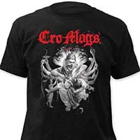 Cro Mags- Best Wishes (Red Logo, White Image) on a black ringspun cotton shirt