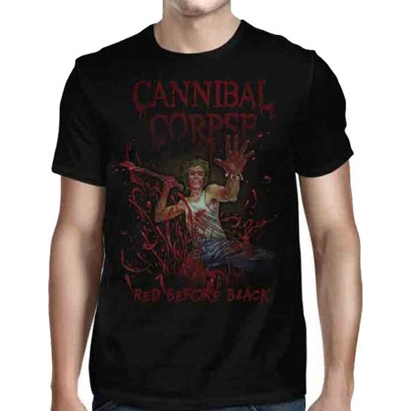 Cannibal Corpse- Red Before Black on front & back on a black shirt
