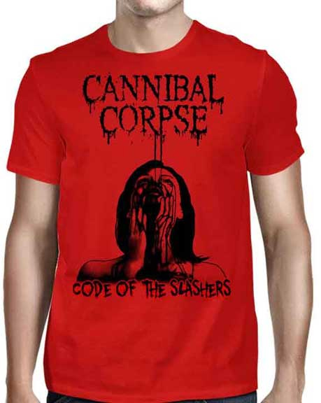 Cannibal Corpse- Code Of The Slashers on front, Red Before Black on back on a red shirt