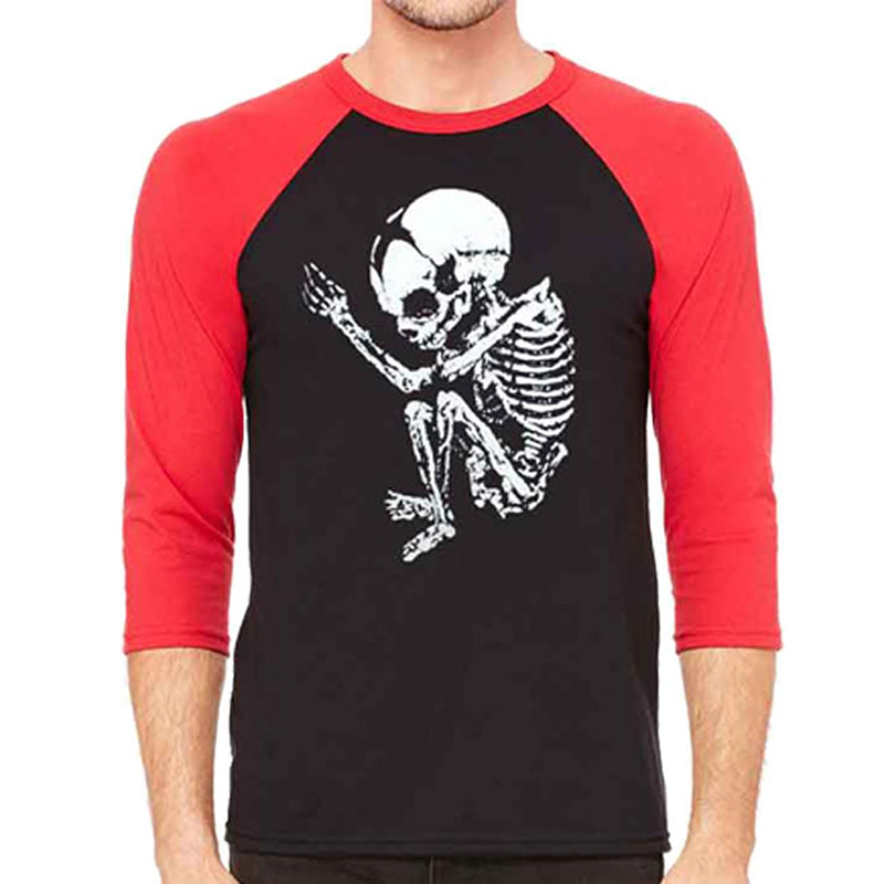 Cannibal Corpse- Skeleton on front, Logo on back on a black/red 3/4 sleeve raglan shirt
