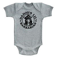 Conan The Barbarian- Daddy's Little Barbarian on a grey onesie