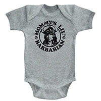 Conan The Barbarian- Mommy's Little Barbarian on a grey onesie