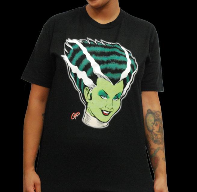 Bride Of Frankenstein (Coop Artwork) on a black shirt
