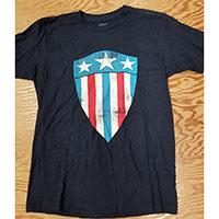 Marvel Comics- Captain America Shield on a navy ringspun cotton shirt (Sale price!)