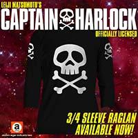 Captain Harlock Skull And Crossbones on a black long sleeve raglan shirt