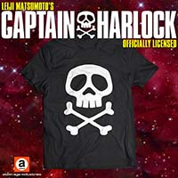 Captain Harlock Skull And Crossbones on a black ringspun cotton shirt