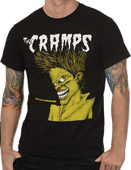 Cramps- Bad Music For Bad People on a black ringspun cotton shirt