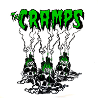 Cramps- Skulls (Green/Black Print) on a white ringspun cotton shirt