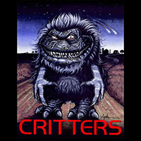 Critters- Color Critter & Red Logo on a black shirt