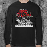 Cryptic Slaughter- Band In SM on a black LONG SLEEVE shirt