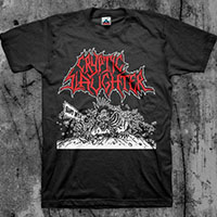 Cryptic Slaughter- Band In SM on a black shirt