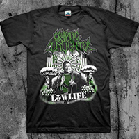 Cryptic Slaughter- Low Life (Reagan Edition) on a black shirt
