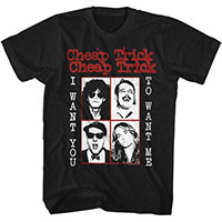Cheap Trick- I Want You To Want Me on a black ringspun cotton shirt