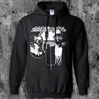 Dystopia- American Gothic on a black hooded sweatshirt