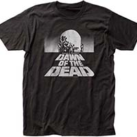 Dawn Of The Dead- Distressed Logo & Head on a black ringspun cotton shirt